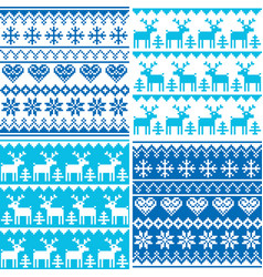 winter pattern cross stitch collection winter sea vector image