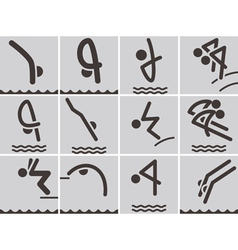 Diving icons vector