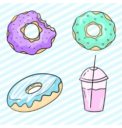 Donut and milkshake vector image vector image