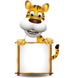 funny tiger cartoon with blank sign vector image