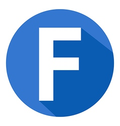 Letter f in blue circle vector
