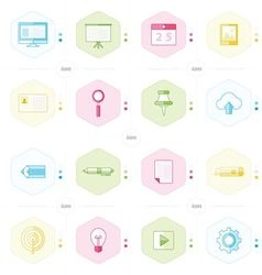 office icon set blue green pink yellow color style vector image