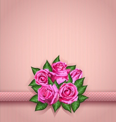 Roses postcard pink vector image