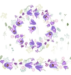 Round frame with contour blue flowers on white vector image vector image