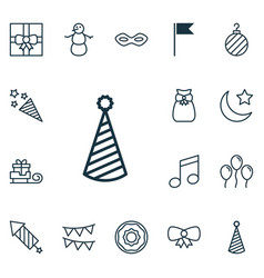 set of 16 new year icons includes firecracker vector image vector image