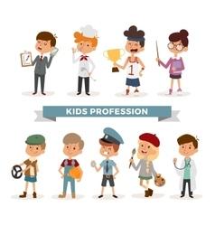 Set of cute cartoon professions kids vector image vector image