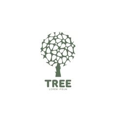Stylized round shape graphic tree logo template vector image vector image