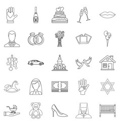 wedding icons set outline style vector image