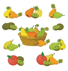 Wicker basket and fruits set vector image