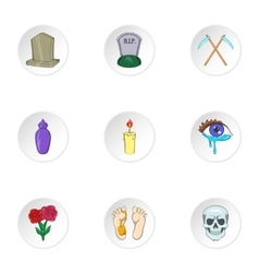 Death of person icons set cartoon style vector image vector image
