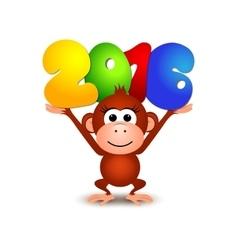Symbol New Year 2016 Monkey Postcard Happy New vector image vector image