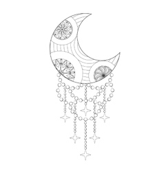 Bohemian Moon Hand drawn Zentangle artistic Moon vector image