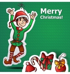 Funny cute dwarf christmas green vector