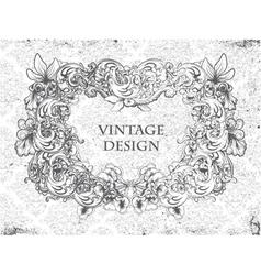 grunge damask background with floral frame vector image vector image
