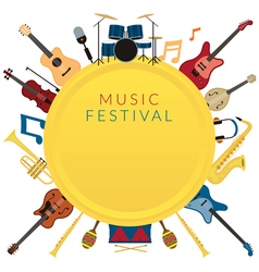 Music instruments objects label background vector