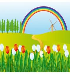 rainbow meadows vector image