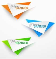 Set of triangular colorful paper origami banners vector image vector image