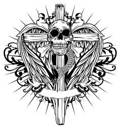 skull cross wings vector image vector image