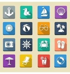 Summer Sea Vacation Icons vector image vector image