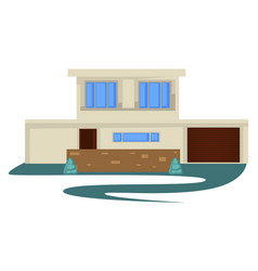 1950s style vintage building or house with garage vector