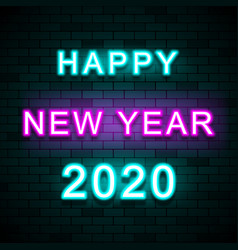 2020 happy new year on brick wall background vector