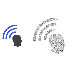 2d mesh telepathy waves and flat icon vector image
