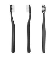 3d realistic black plastic blank toothbrush vector