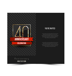 40th anniversary invitation card template vector