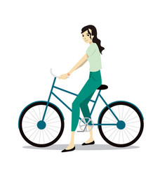 active young woman riding on bicycle vector image