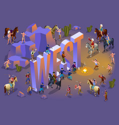 American history and isometric word west vector