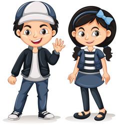 asian boy and girl waving hello vector image