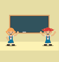 Back to school classes two students girls in vector