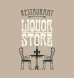 Banner for liquor store with a table for vector