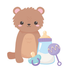 Bashower teddy bear with pacifier rattle and vector