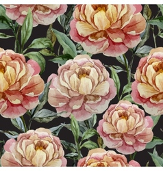 Beautiful watercolor pattern with peonies on black vector image