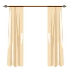 Beige kitchen curtains on ledge decor vector