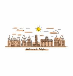 belgium panorama line style vector image