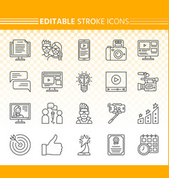 blogging online simple black line icons set vector image
