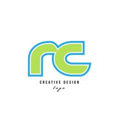 Blue green alphabet letter rc r c logo icon design vector