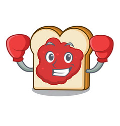 boxing bread with jam character cartoon vector image