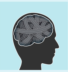 brain in form a road vector image