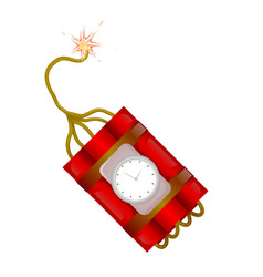 burning fuse dynamite timer clock bomb explosion vector image