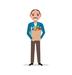 cartoon man with market paper bag full food vector image