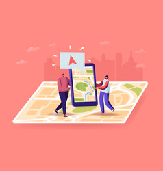 Characters using geolocation positioning concept vector