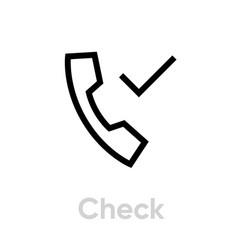 check call icon editable stroke vector image