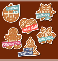 christmas stickers collection with christmas vector image