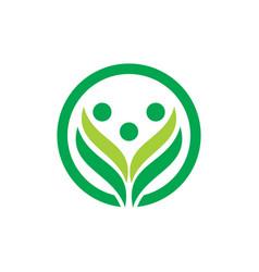 Circle leaf logo concept vector