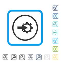 Cog integration framed icon vector