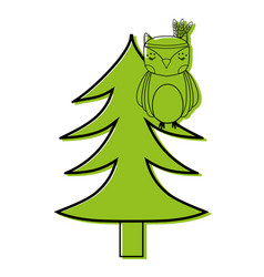 Color ethnic owl animal in pine tree vector