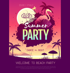 colorful summer disco party poster vector image